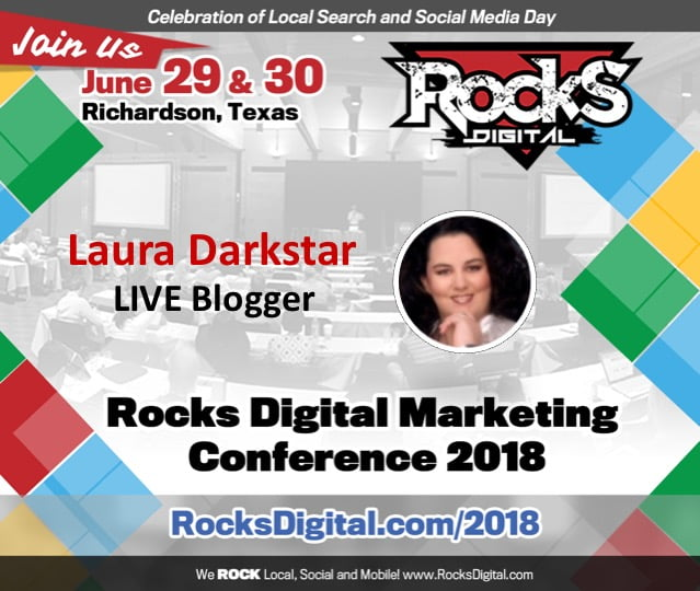 Laura Darkstar, Live Blogging Superhero, Returns to the 2018 Rocks Digital Marketing Conference