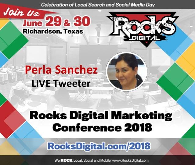 Perla Sanchez, Bilingual Social Media Strategist, to Tweet Live from Rocks Digital 2018