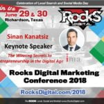 Founder of the Internet Marketing Association, Sinan Kanatsiz, to Keynote on The Winning Secrets to Entrepreneurship in the Digital Age at Rocks Digital 2018