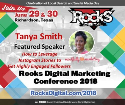 Tanya Smith, the Mindful Marketer, to Present on Using Instagram Stories to Drive Engagement at Rocks Digital 2018